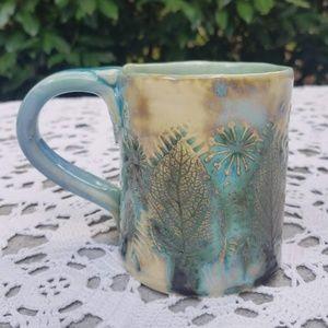Gorgeous Handmade Raku Pottery Coffee Mug Leaves